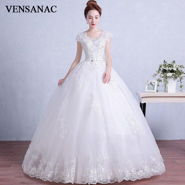 Us 73 5 30 Off Aliexpress Com Buy Vensanac V Neck 2019 Ball Gown Lace Appliques Wedding Dresses Elegant Short Cap Sleeve Crystal Backless Bridal