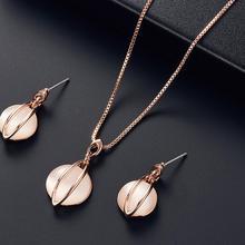 Fashion Luxury Women Round Faux Gem Opal Cat's Eye Pendant Necklace Earrings Eardrops Jewelry Set For Lady Wedding Party Gift pair of elegant faux gem clip earrings for women