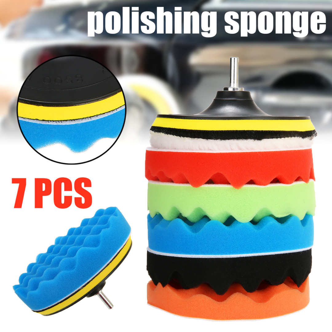 7Pcs 3/5/6/7 Car Polishing Pad Set Buffer Waxing Buffing Drill Sponge Cleaning Accessories