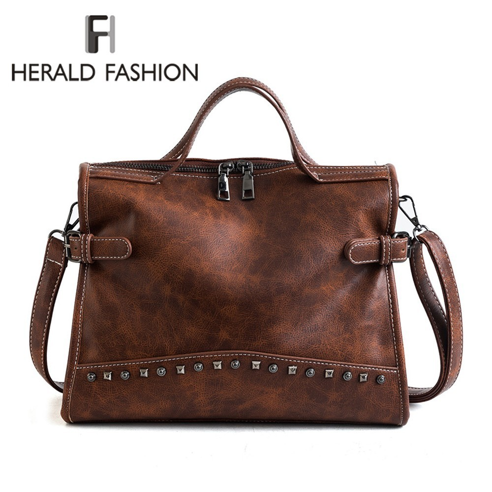 Herald Fashion Rivet Vintage Female Handbag Quality Leather Messenger Bag Women Shoulder Bag Larger Top-Handle Bags Travel Bag 2016 spring newest vintage women handbag fashion skull rivet women s one shoulder messenger bag