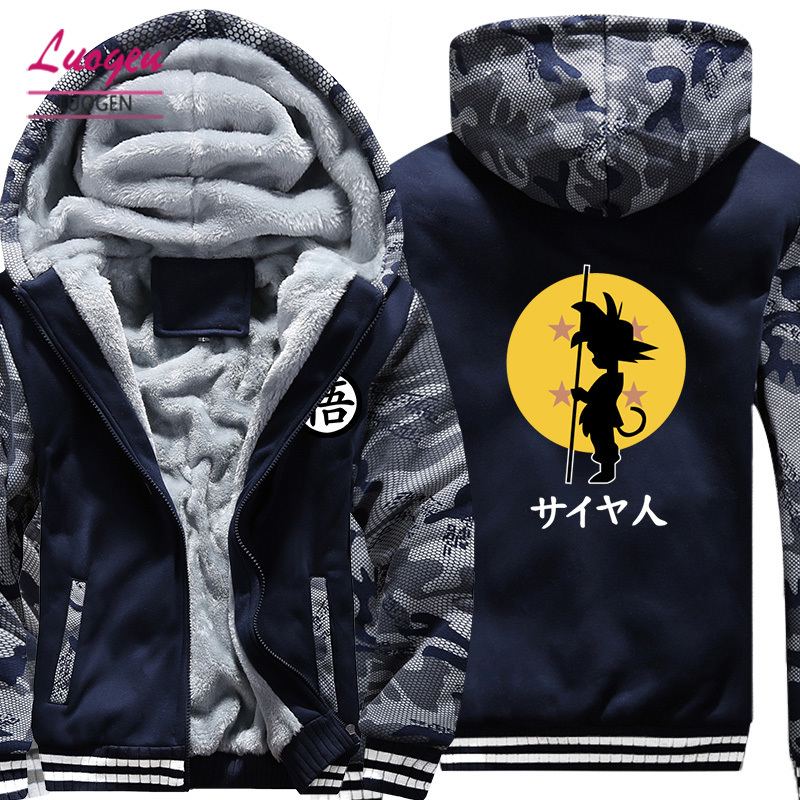 USA SIZE Dragon Ball Son Goku Printed Men's Hoodies Sweatshirts Design Camouflage Jackets Winter Thicken Fleece Warm Men's Coat
