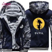 USA SIZE Dragon Ball Son Goku Printed Mens Hoodies Sweatshirts Design Camouflage Jackets Winter Thicken Fleece Warm Coat