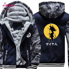 USA SIZE Dragon Ball Son Goku Printed Men's Hoodies Sweatshirts Design Camouflage Jackets Winter Thicken Fleece Warm Men's Coat(China)