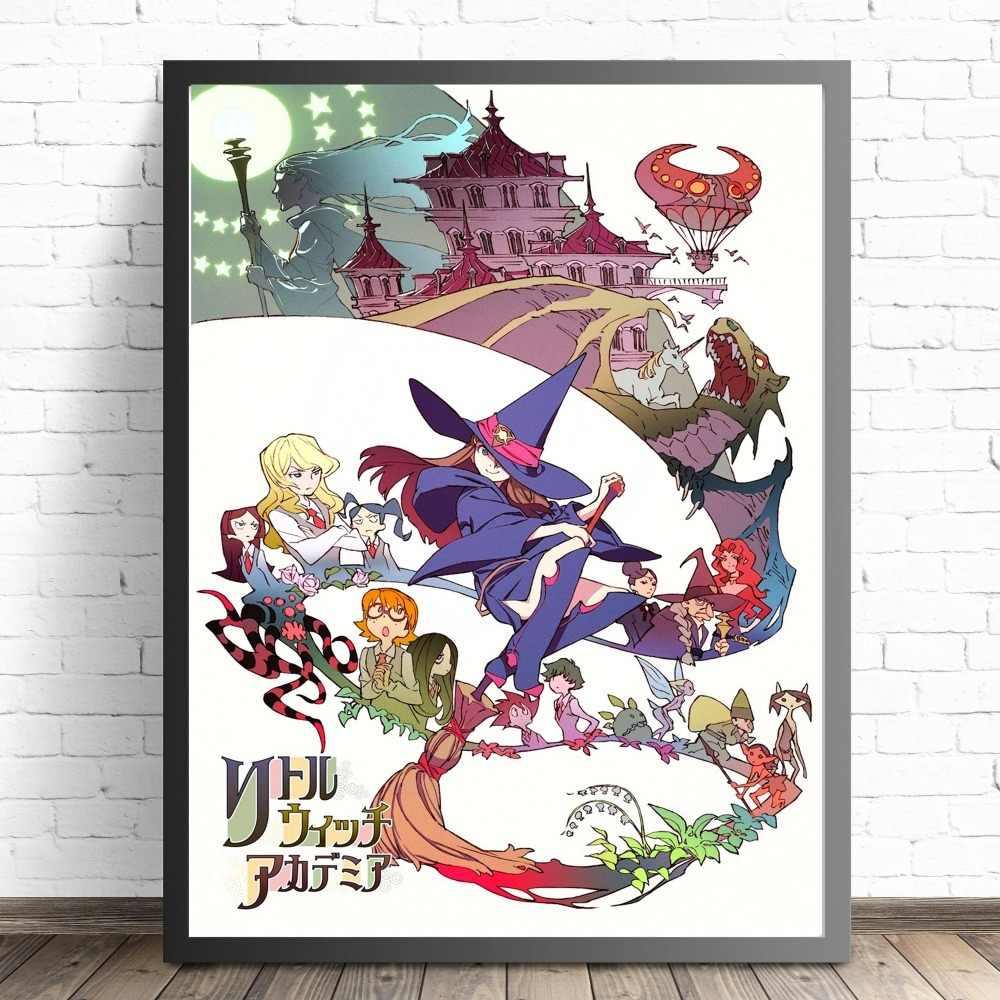 Little Witch Academia Anime Gadis Kanvas Seni Lukisan Poster dan Cetakan untuk Dinding Ruang Tamu Dekorasi Rumah Gambar Tanpa Frame quadro