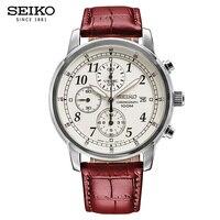 100% оригинал Seiko 5 Солнечная энергия кварцевые часы светящиеся Руки Календарь кожа Sraps Бизнес Мода часы универсальная гарантия