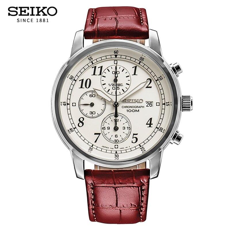 Seiko5 montres hommes chronographe hommes montres de sport étanche en cuir Quartz montre-bracelet lumineuse pour hommes Relogio Masculino