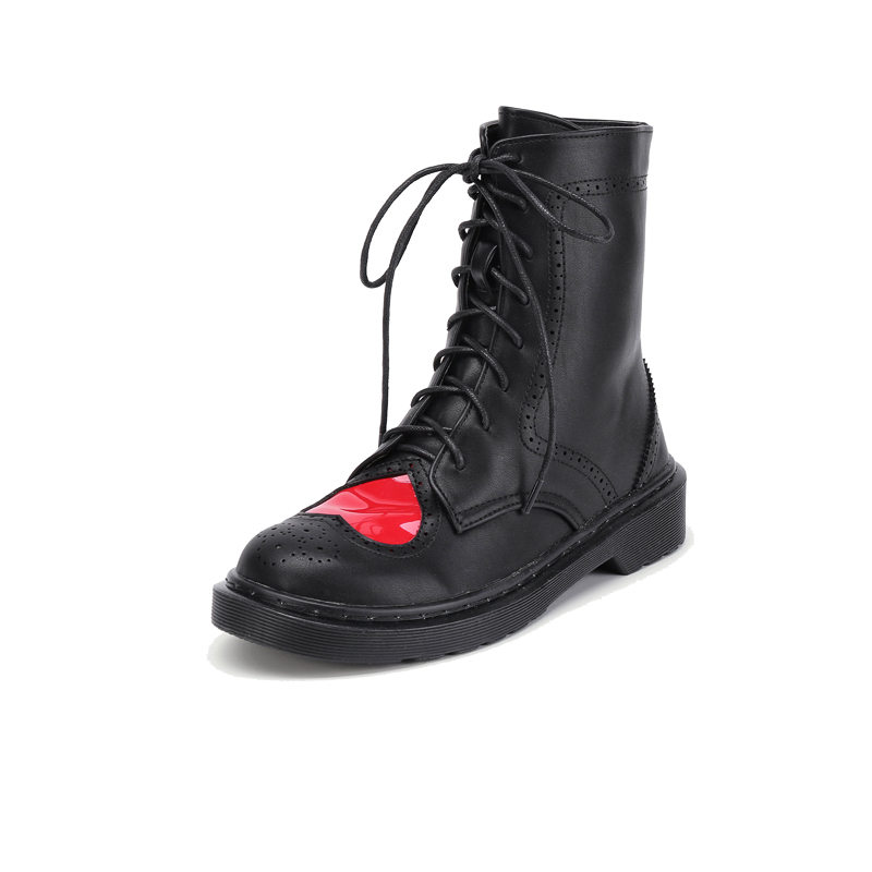 NIS Women Ankle Boots, Black/White Heart Shape Brogue Winter Warm Boots, Ladies Lovely Lace up Sewing Round Toe High top Shoes