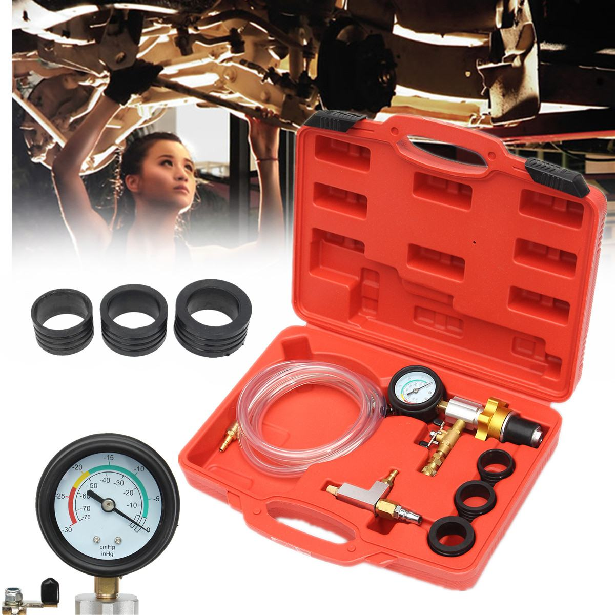 Autoleader Vacuum Cooling System Auto Car Radiator Coolant Refill & Purging Tool Gauge Kit With Air Pump Car Wash Easy Connect