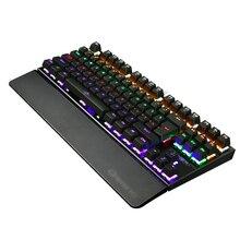K28 Backlit Gaming Mechanical Keyboard Colorful LED USB Wired Game Keyboard 26 Keys Anti-ghosting Free Hand Care