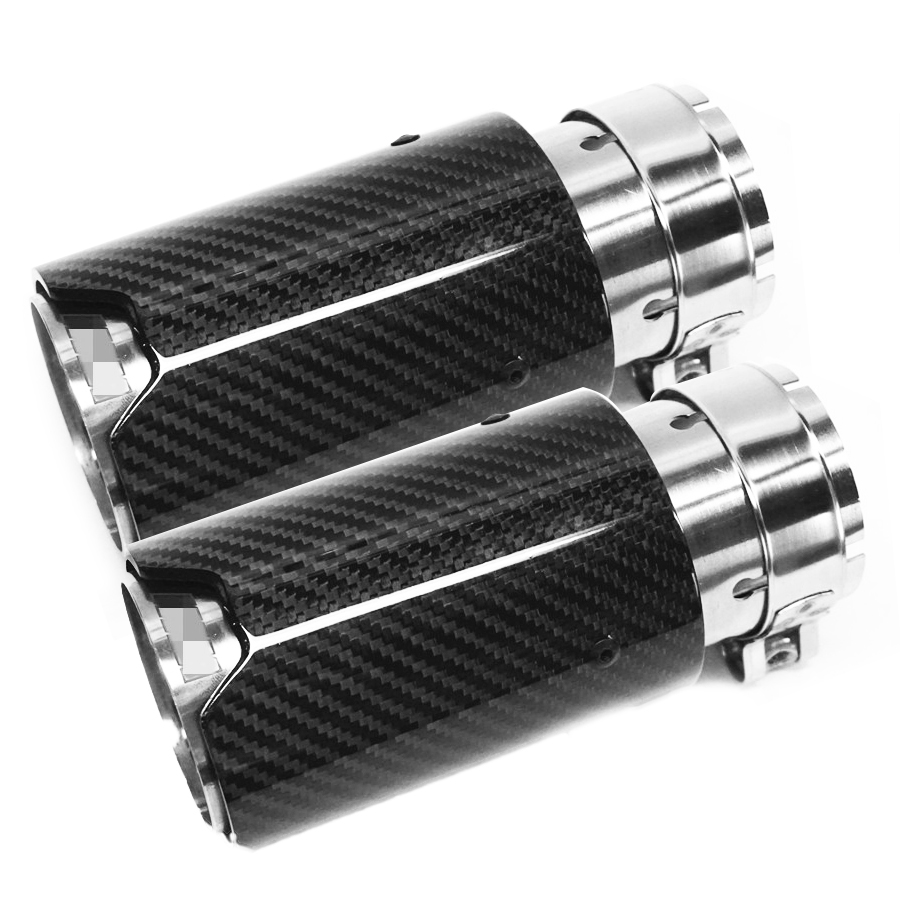 1 Pair Inlet 63mm Outlet 81mm Car Styling M Label Car Carbon Fiber Exhaust End Tips Pipes For BMW Carbon Exhaust Tip in Exhaust Headers from Automobiles Motorcycles
