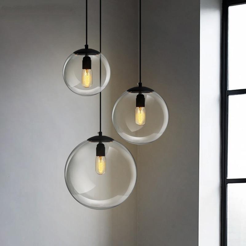 Modern Led Pendant Lights Living Room Studyroom Minimalist Style Decor Art Golden Glass Ball Lamp Hotel Hall Nordic Pendant Lamp in Pendant Lights from Lights Lighting