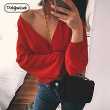 Pickyourlook Long Sleeve Blouses And Shirt Women Sexy Deep V Neck Club Party Female Tops Autumn Bow Ladies Chemise