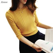 Xnxee new 2018 half sleeve cotton Crewneck sweater female head shirt five solid tight thin repair