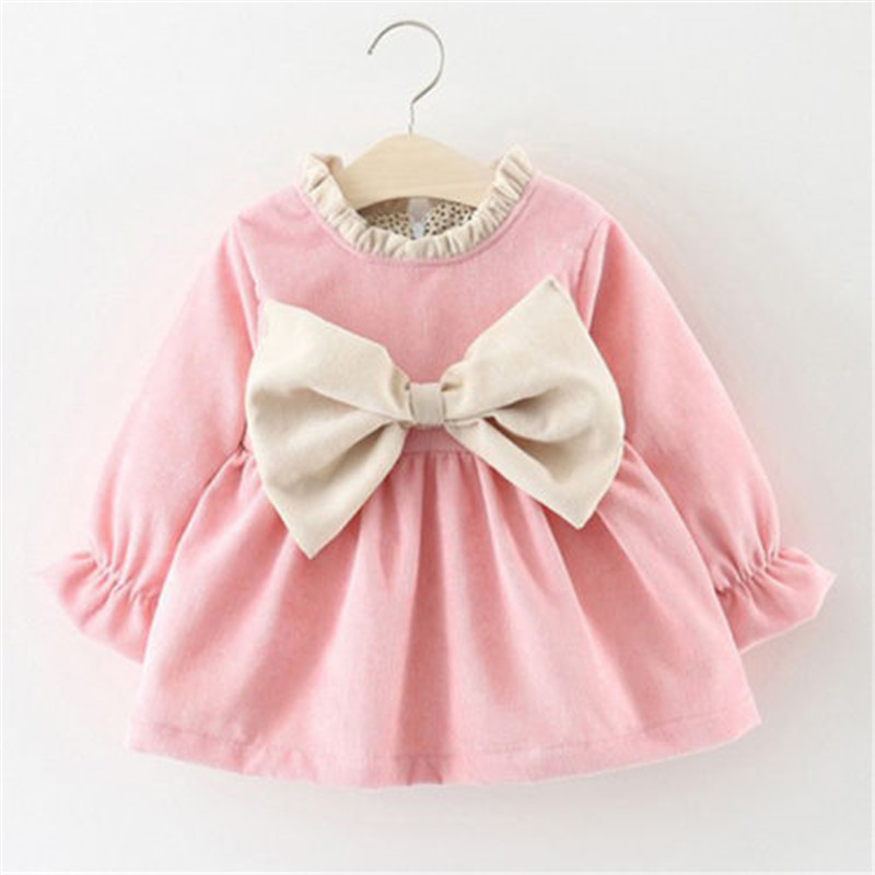 Cute Newborn Toddler Kids Baby Girl Cotton Long Sleeve Bowknot Princess Party Holiday Dress Autumn Spring Girls Dresses Clothes