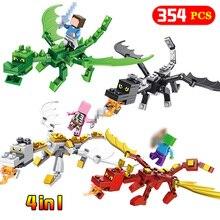 4 в 1 Стив Alex с драконами Совместимость Legoing Minecrafted Рисунок модель здания Конструкторы кирпич игрушечные лошадки набор подарок