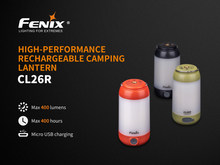 Fenix CL26R Camping Lantern 400 Lumen 2 Warna 6 Mode Magnetic Base Hang Camp Lampu + 1 PC 2600 MAh 18650 Baterai Li-ion(China)