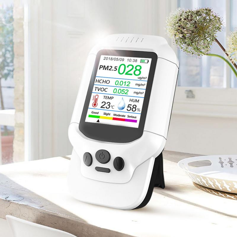 Air Quality Detector Meter Monitor with Color LCD Multifunctional Operating System for Indoor Formaldehyde HCHO PM2