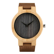 Clock Simple Fringes Pattern Wooden Watch for Men Genuine Leather Wood