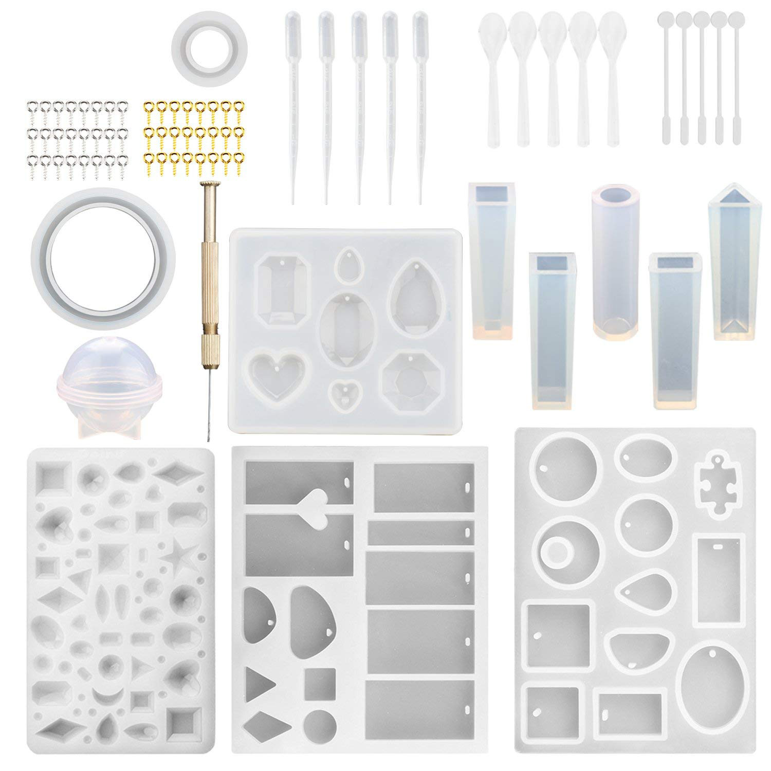 12 Pack Jewelry Casting Molds Silicone Jewelry Molds With 48 Screw Eye Pins,5 Plastic Stirrers,5 Plastic Spoons,5 Plastic Drop