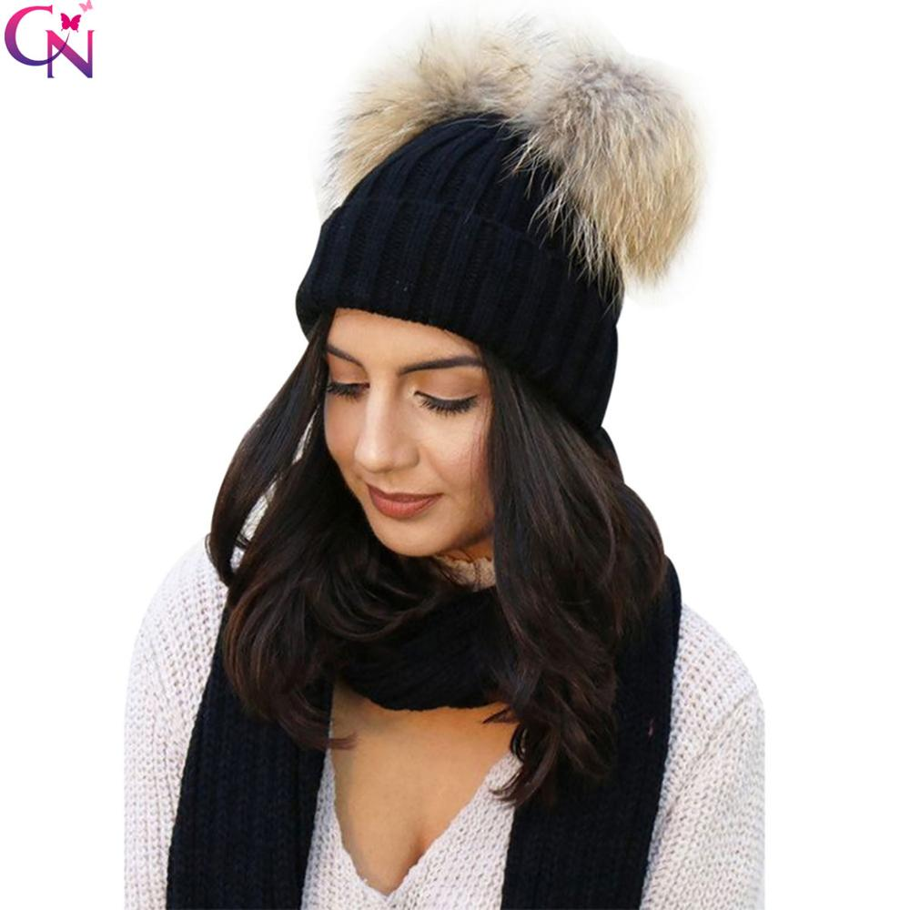 Hats/Caps Double Fur Pom Pom   Beanies   For Ladies Winter Knit Faux Fur   Skullies     Beanies   Women Chunky Hat Bobble
