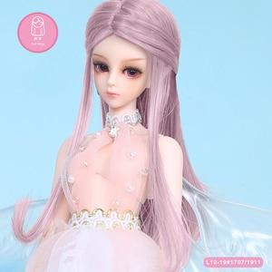 Peruca para boneca bjd 1/6 bjd sd boneca peruca de alta temperatura longo cabelo reto para boneca fêmea acessórios