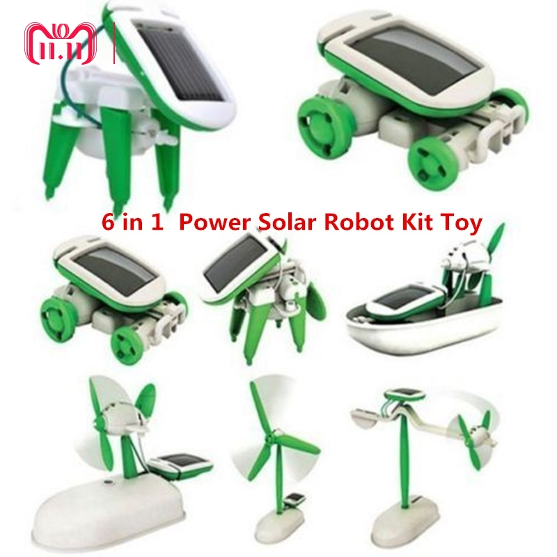 DROPSHIPPING 6 in 1 Educational Learning Power Solar Robot Kit Toy Transformation Robot DIY Toy Science Kit For Kid Birthday 50pcs mixed heat shrink butt terminal high quality electrical heat shrink butt wire cable crimp connector 3 color