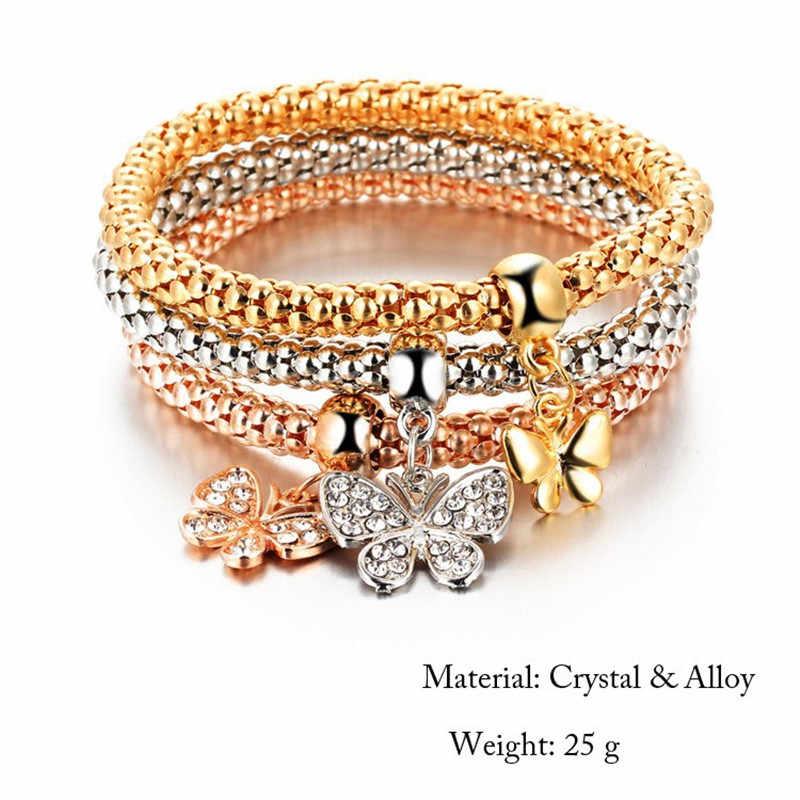 3 uds. Pulsera de mariposa de cristal accesorios colgantes de mujer pulseras y brazaletes de mujer plata oro rosa oro pulseras femeninas fe