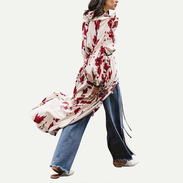b0b6a84a23e10 US $20.7 42% OFF|New Spring Red Flower Print Dresses Women Lantern Sleeve  Patchwork Ruffle Dress High Split Long Shirt Dress With Belt-in Dresses  from ...