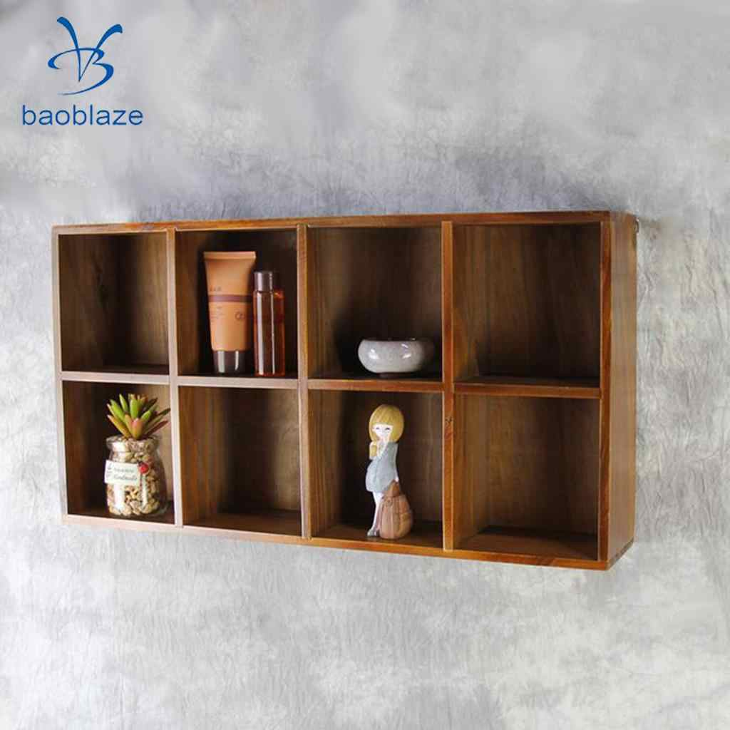 2 Tiers 8 Lattice Floating Shelves Wall Mounted Display Ledge Shelf With Bracket For Pictures And Frames Modern Home Decorative