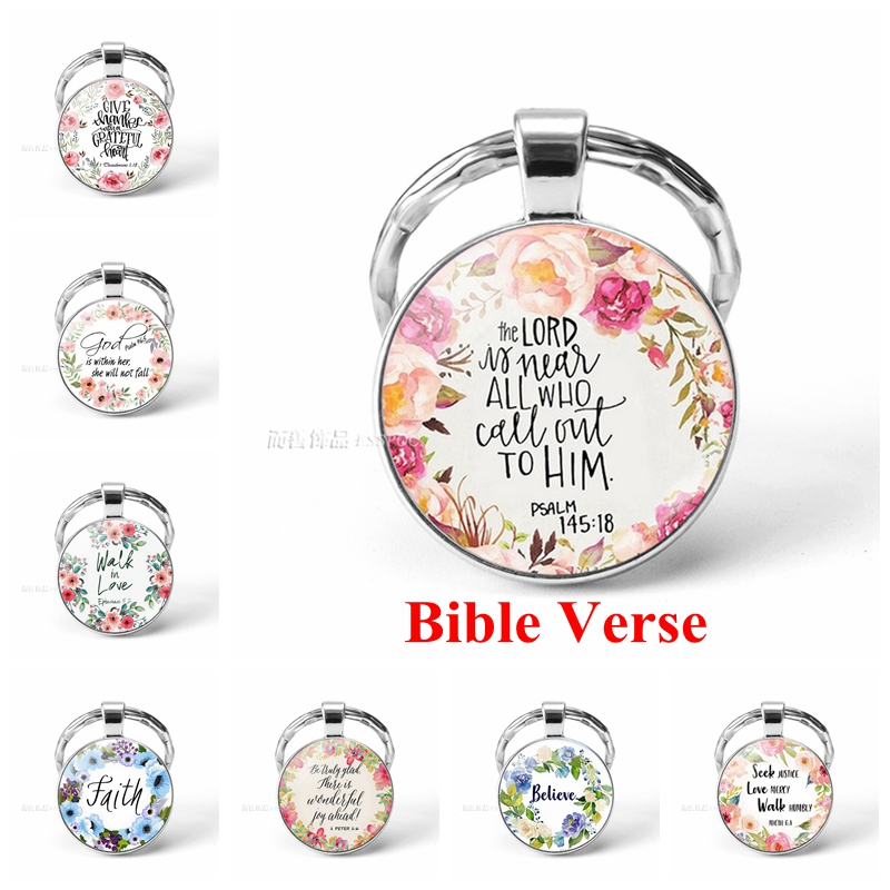 Bible Verse Psalm Keychain Pendant Key Chain Key Rings Key Fob Inspirational Quote Jewelry Christian Party Favor Gift