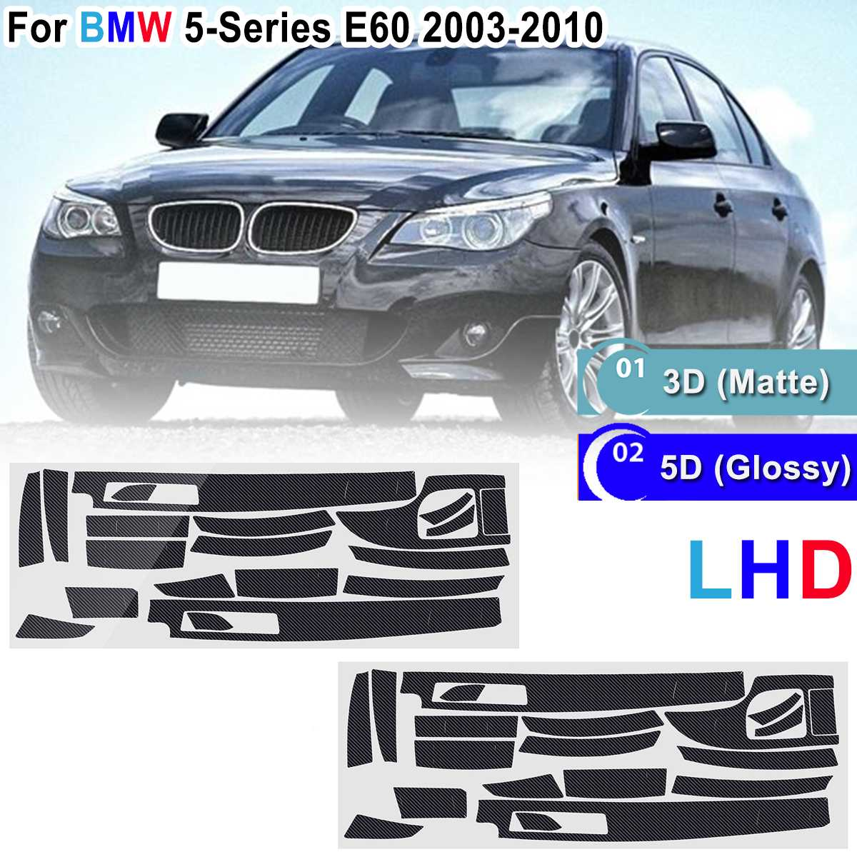 LHD 18pcs Glossy/ Matte <font><b>Carbon</b></font> Fiber Sticker Vinyl <font><b>Interior</b></font> Decal Trim 3D/5D Sticker For <font><b>BMW</b></font> 5-Series <font><b>E60</b></font> 2003-2010 image