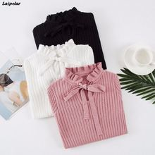 2018 Autumn Women Sweater New Slim Winter Knitted Sweater Flare Long Sleeve Knitting Pullover Lace Up Womens Sweaters Laipelar недорого