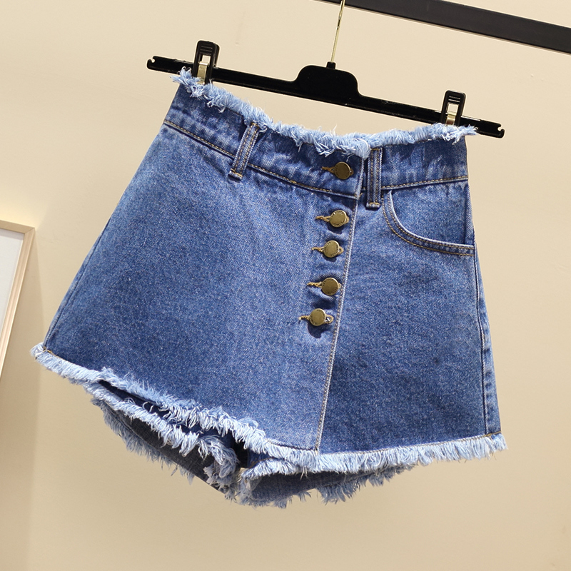 Plus Size Vintage Single Breasted Denim Shorts Women Casual Tassel Ripped Jeans Shorts 2020 Summer Girl Hot Shorts Skirts