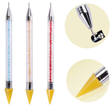 Hot Dual-ended Nail Dotting Pen Crystal Beads Handle Rhinestones Studs Picker Wax Pencil Manicure Art Tool