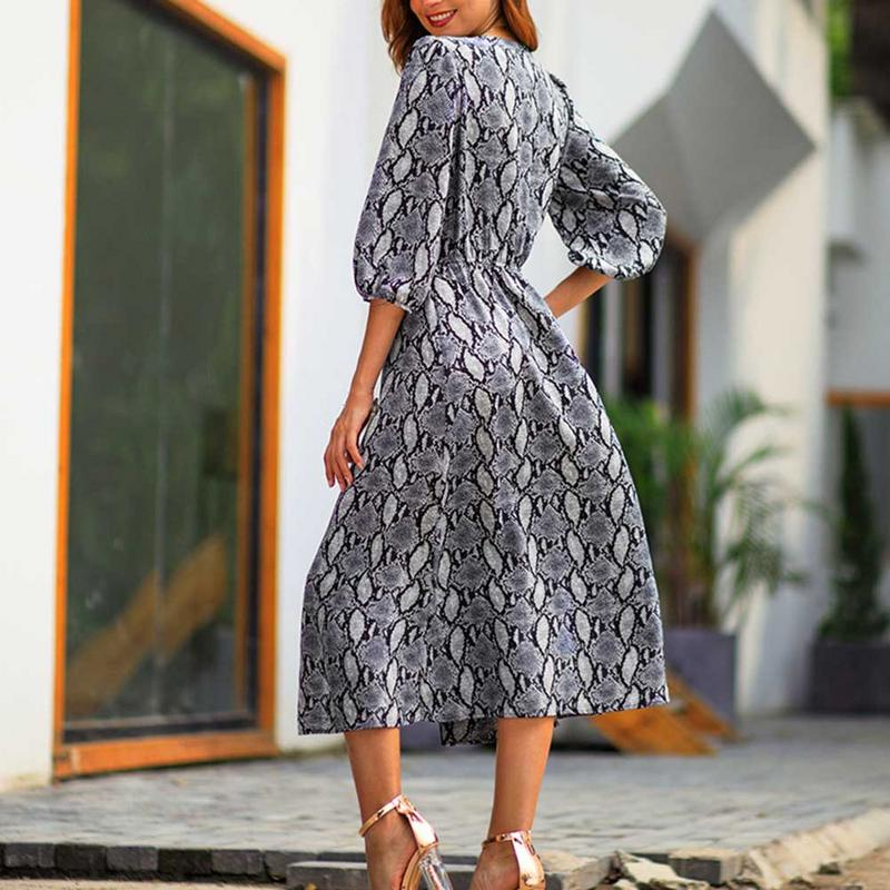 Women's Printed Dress - Temperament Commuter Three Quarter Sleeve Vintage Button Up Split Party Maxi Dress