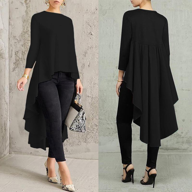 Asymmetrical Tunic Tops Women's   Blouse   Spring Chemise 2019 ZANZEA Pleated Long Sleeve   Shirt   Female Swallowtail Blusas Oversized