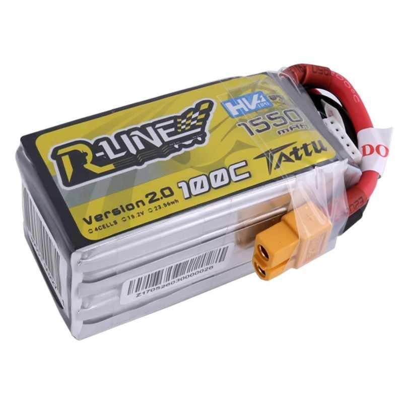 Татту 1550 мА/ч, 100C r-образный 2,0 Lipo 4S батареи 15,2 V HV Мощность XT60 штепсельная вилка с видом от первого лица 250 Размеры Drone высокая производительность