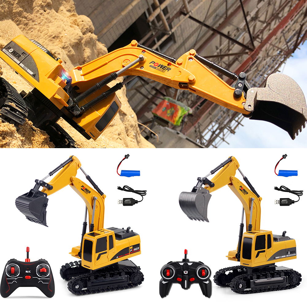 6 Channels Electronic Wear Resistant Kids Truck Crawler Simulation USB Rechargeable Gift Wireless Toys With Light RC Excavator