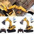 6 canales electrónicos resistentes al desgaste niños camión oruga simulación USB recargable regalo juguetes inalámbricos con excavadora RC ligera