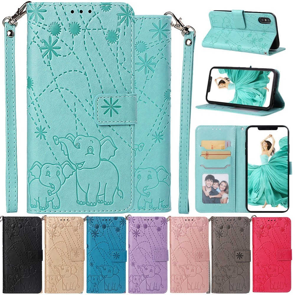 Flip Leather Book Phone Case Shell For Sony Xperia Xa3 Xz3 Fireworks Elephant Texture Embossed With Wallet Card Pocket Pure Whiteness