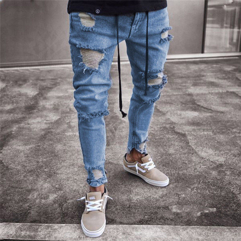 Hirigin Hot Sale Men's Vintage Ripped Jeans Super Skinny Slim Fit Zipper Denim Pants Leisure Destroyed Frayed Gothic Style Pant
