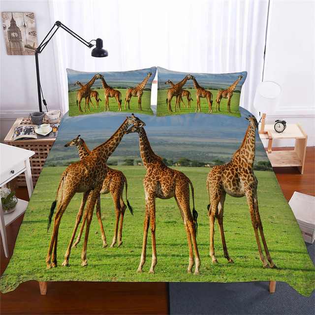 מצעי סט 3D מודפס שמיכה כיסוי מיטת סט ג ירפה בעלי החיים בית טקסטיל למבוגרים כמו בחיים מצעי עם ציפית # CJL17