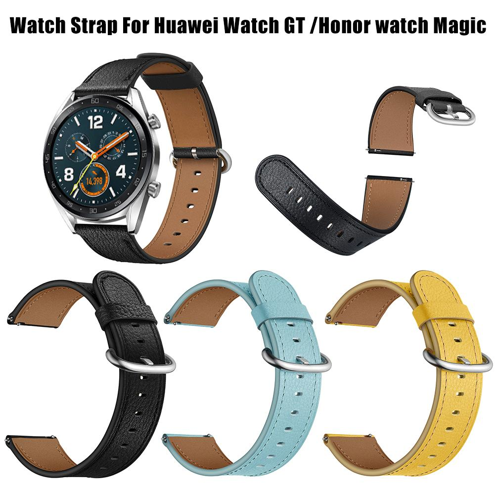 Home Professional Sale 22mm Smart Replacement Wristband Genuine Soft Comfortable Sports Watch With Leather Watch Strap Adjustable Round Tail For Huawei