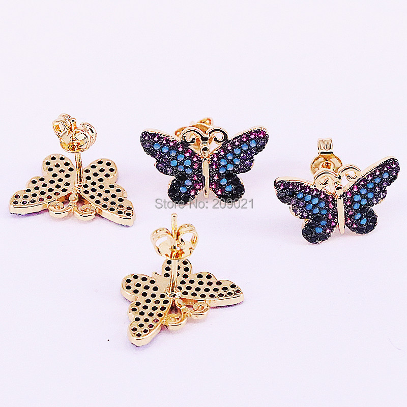 8Pairs Micro pave CZ Zirconia Butterfly earring fashion women lady Insects cute stud earrings