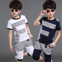New Arrival Boys Summer Clothing Set 2019 Children Short Sleeve Sport Suit Kids Casual T-shirt + Middle Pants 2 Pcs Twinset B124 retail 2016 new arrival spring kids sport suit long sleeve t shirt leopard legging pants 2pcs for 2 10y girls children clothing