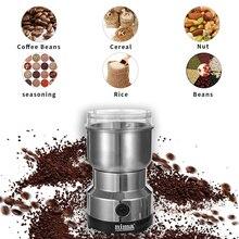 Strona główna kuchnia Mini ostrze ze stali nierdzewnej nakrętki do kawy ziarna fasola szlifowanie wielofunkcyjny elektryczny młynek do kawy