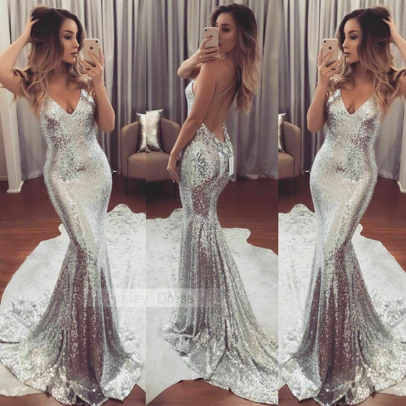 Sexy Women Dress Long Formal Silver Sequin Sequined Dress Strapless Evening Party Tight Dress