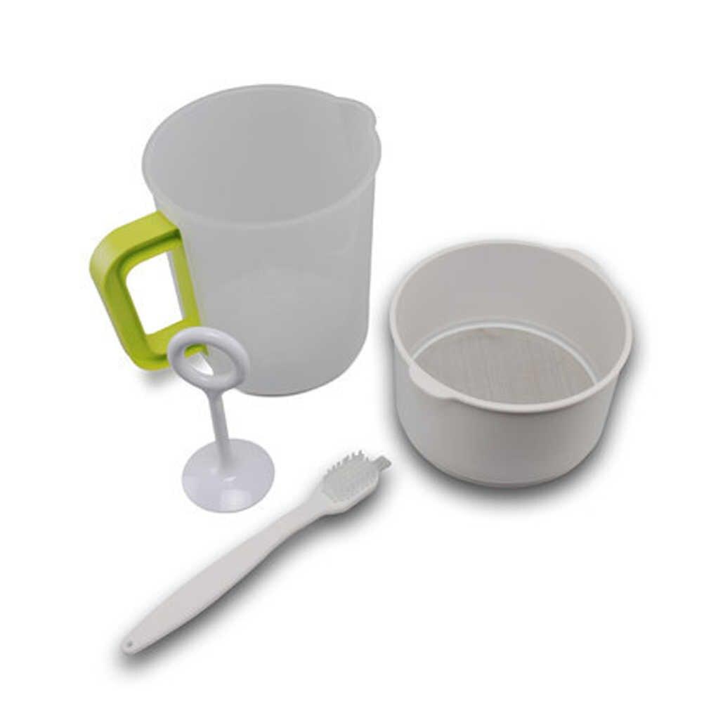 4PCS 1.5L Plastic Soy Milk Maker Filter Set Soy Milk Strainer Nut Milk Bag Alternative including Filter Cup Rod Brush