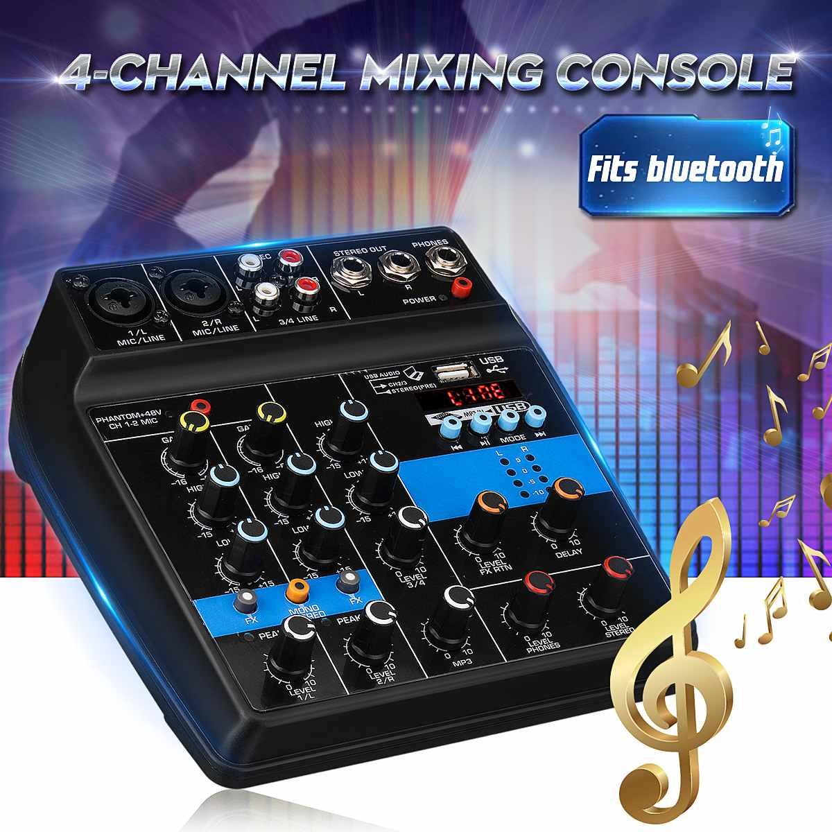 Amplificateur de mixage Audio Portable 4 canaux USB Mini Console de mixage Audio bluetooth 48 V alimentation fantôme pour karaoké KTV Match Party
