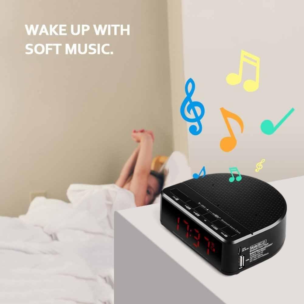 Radio réveil numérique avec haut-parleur Bluetooth, affichage chiffre rouge avec 2 gradateurs, radio FM, Port USB chevet réveil led.